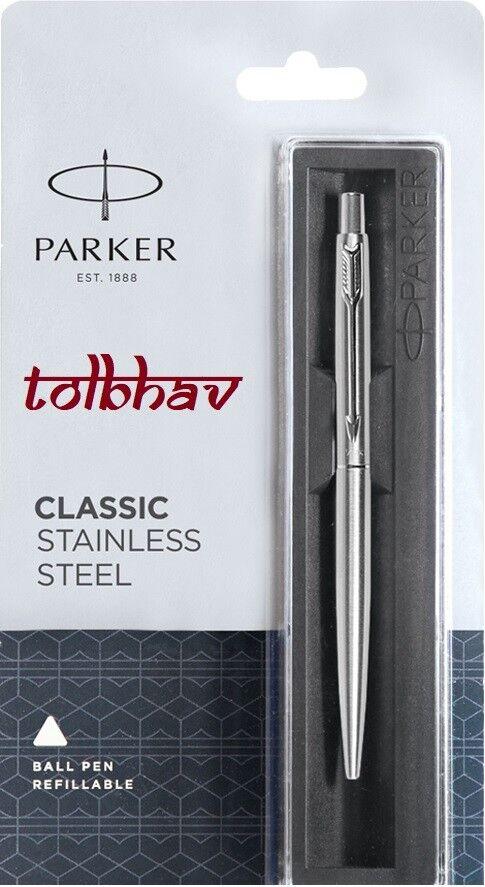 Parker Classic Jotter Stainless Steel Chrome Trim Slim Ball Point Pen Blue Ink