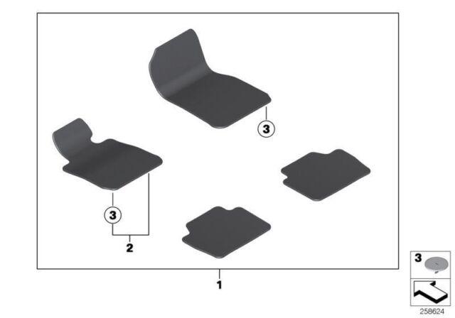 Bmw Floor mats set velours ANTHRAZIT Fußmatte 3/' 3er F30 F31 F80 51477294036