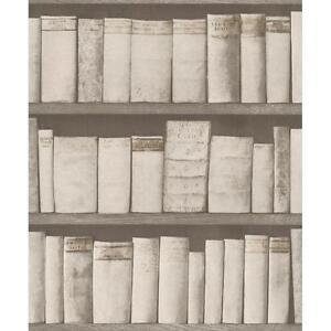 Rasch Livre Etagere Motif Papier Peint Bois Bibliotheque Etui