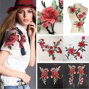 Insigne-de-Col-Brode-de-Fleurs-Rose-Appliques-pour-Coudre-Robe-a-la-Mode