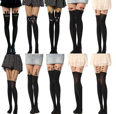 Sexy Tattoo Socks Sheer Pantyhose Mock Stockings Tights Leggings