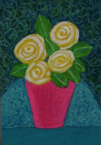 ACEO-Original-Miniature-Painting-YELLOW-ROSES-Acrylic-3-5x2-5-inches