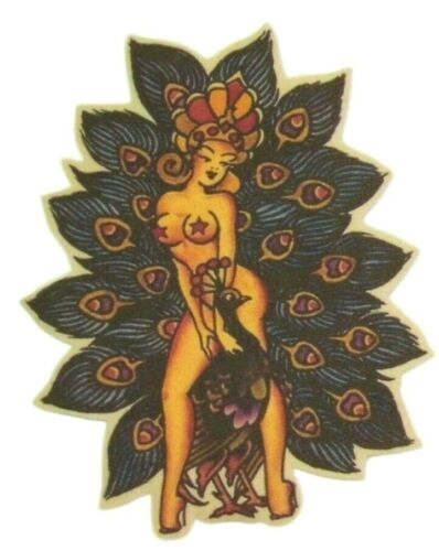 Peacock Pin Up Iron on Patch Flash Tattoo Applique Cotton Sailor Jerry Feathers