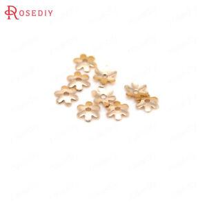 (30744) 20pcs 6 Mm Qualité Couleur Or En Laiton Fleur Perles Caps Findings Accessoires-afficher Le Titre D'origine