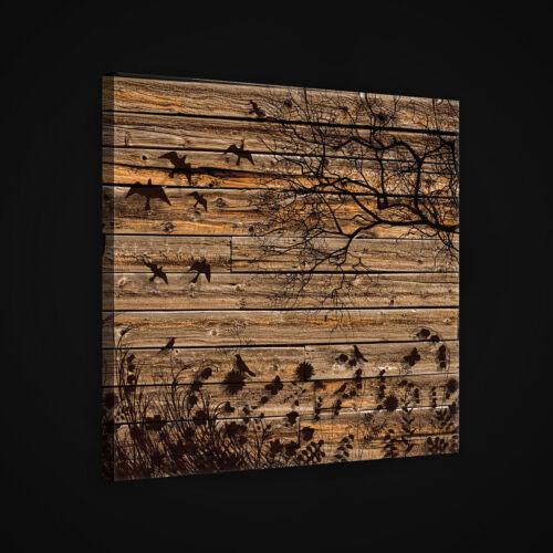 Toile La Fresque Toile Image Bois Planches Arbre Art oiseau marron 14n2524o5