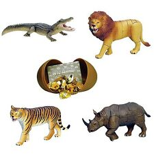 New 4 x Wild Animals 4D 3D Puzzle Egg Realistic Model Toy Kits [Collection #1A]