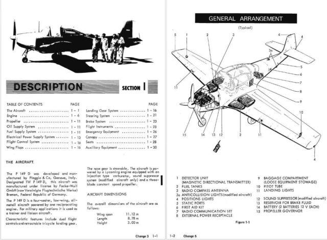 Piaggio P 149 Archive Manual rare details archive flight ops 1960's Period  CD