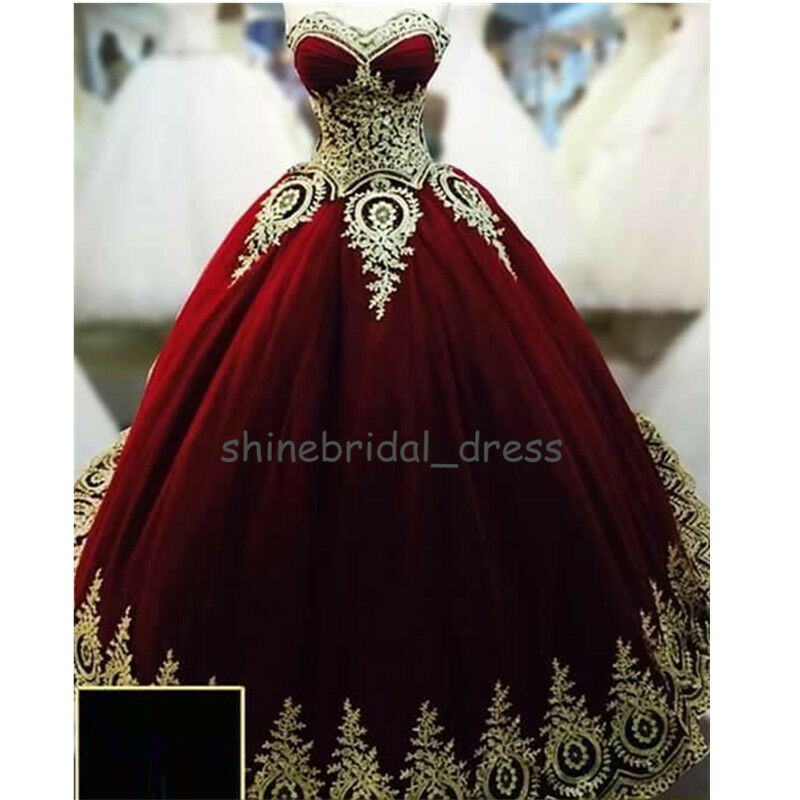 Vintage Burgundy Quinceanera Dresses gold Applique Formal Prom Wedding Ball Gown