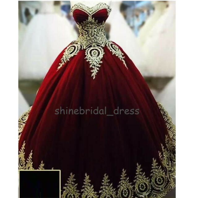 95192467106 Vintage Burgundy Quinceanera Dresses Gold Applique Formal Prom Wedding Ball  Gown