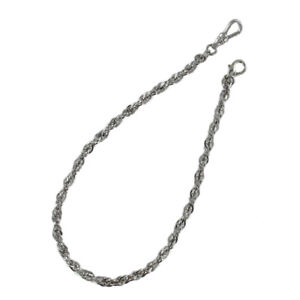 """Silver Tone Rope Pocket Watch Chain  Fob 12"""" Swivel Clasp Made in USA"""