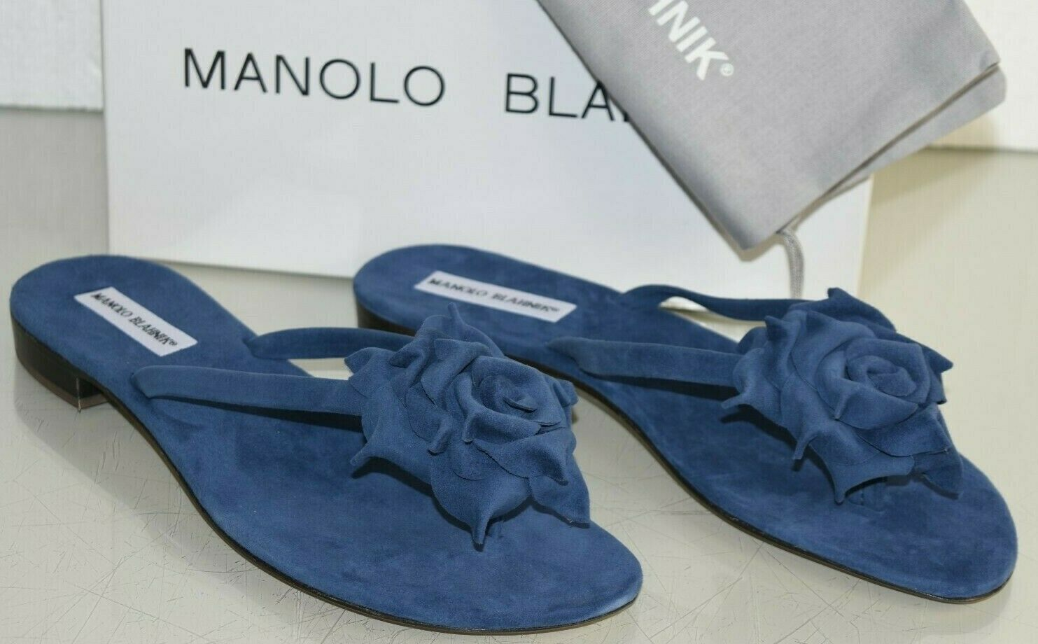735 New Manolo Blahnik Patricia Thong Slides Flat Sandals bluee Suede shoes 41