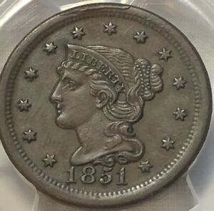 1851-PCGS-AU55-Braided-Hair-Large-Cent-1c-Solid-About-Uncirculated-Early-Penny