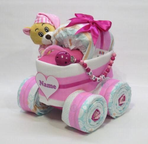 rosa Schlafbär Windeltorte Schnullerkette Windelkinderwagen XL-Reifen