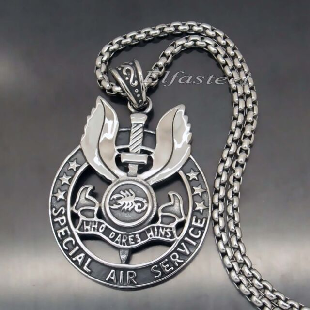 S.A.S. WHO DARES WINS SPECIAL AIR SERVICE 316L Stainless Steel Pendant Necklace