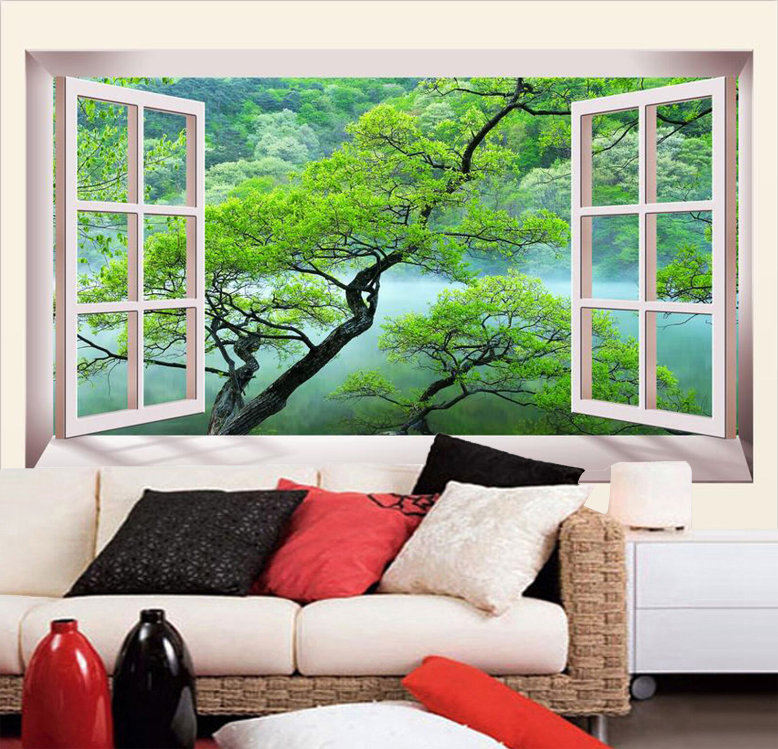 3D Window Lakeside Tree 458 Wallpaper Decal Dercor Home Kids Nursery Mural Home