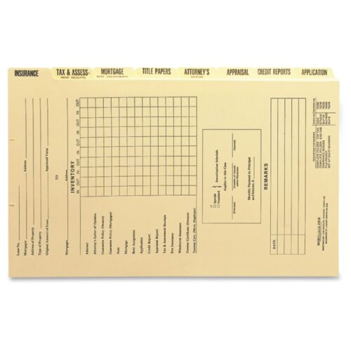 11pt. Box Smead Mortgage Folder Printed Replacement Divider Sets 78278-12