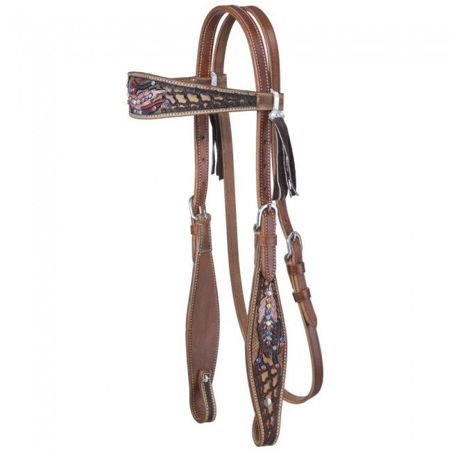 Naomi Headstall w  Hand Painted Feathers & Accented w  Crystals -  NEW