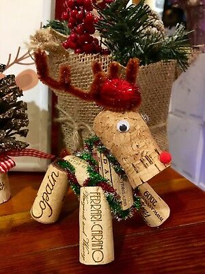 Rustic Wine Cork Red Nose Reindeer Handmade Hanging Christmas Tree Ornament