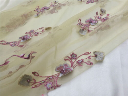 """Stunning Floral Wedding Lace Fabric 59/"""" Wide Beaded Bridal Dress DIY Tulle 0.5 M"""