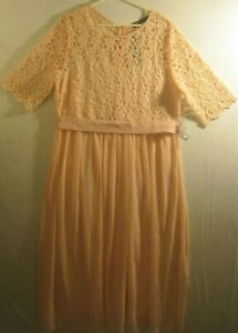 Zanzea-NWT-Vintage-Style-Formal-Peach-Gown-with-Lace-Detailing