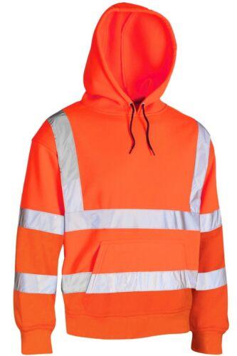 Da Uomo Hi Vis visibilità Sicurezza lavoro con cappuccio felpa Top Pullover Felpa con Cappuccio