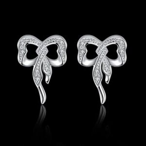 2e36d6d45 Cute New Silver Plated Clear Cubic Zirconia CZ Crystal Accent Bow ...