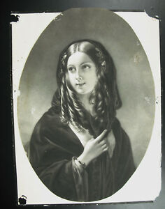 Gravur-um-1900-Schoen-Junges-Frau-Am-Shawl-Beautiful-Young-Woman-With-Shawl