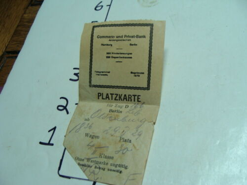 Vintage Travel Paper:1930's BERLIN TICKET STUB, torn as shown