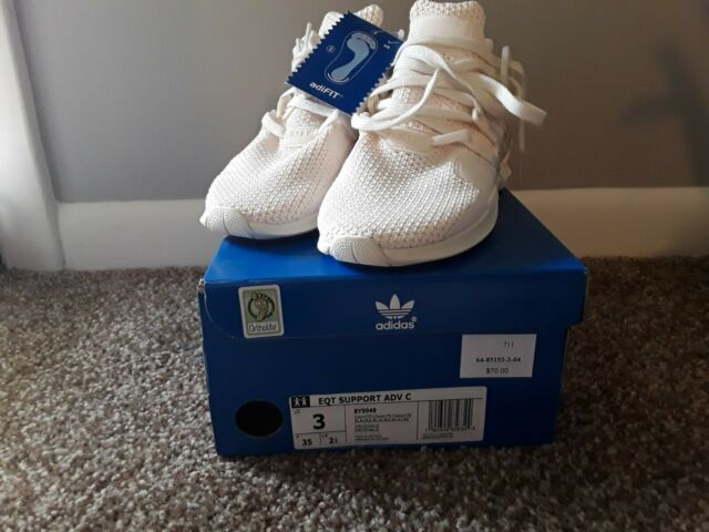 on sale d37c9 f7c9b NEW YOUTH Size 3 ADIDAS EQT SUPPORT ADV (C) SHOE-CHALK WHITE BY9949