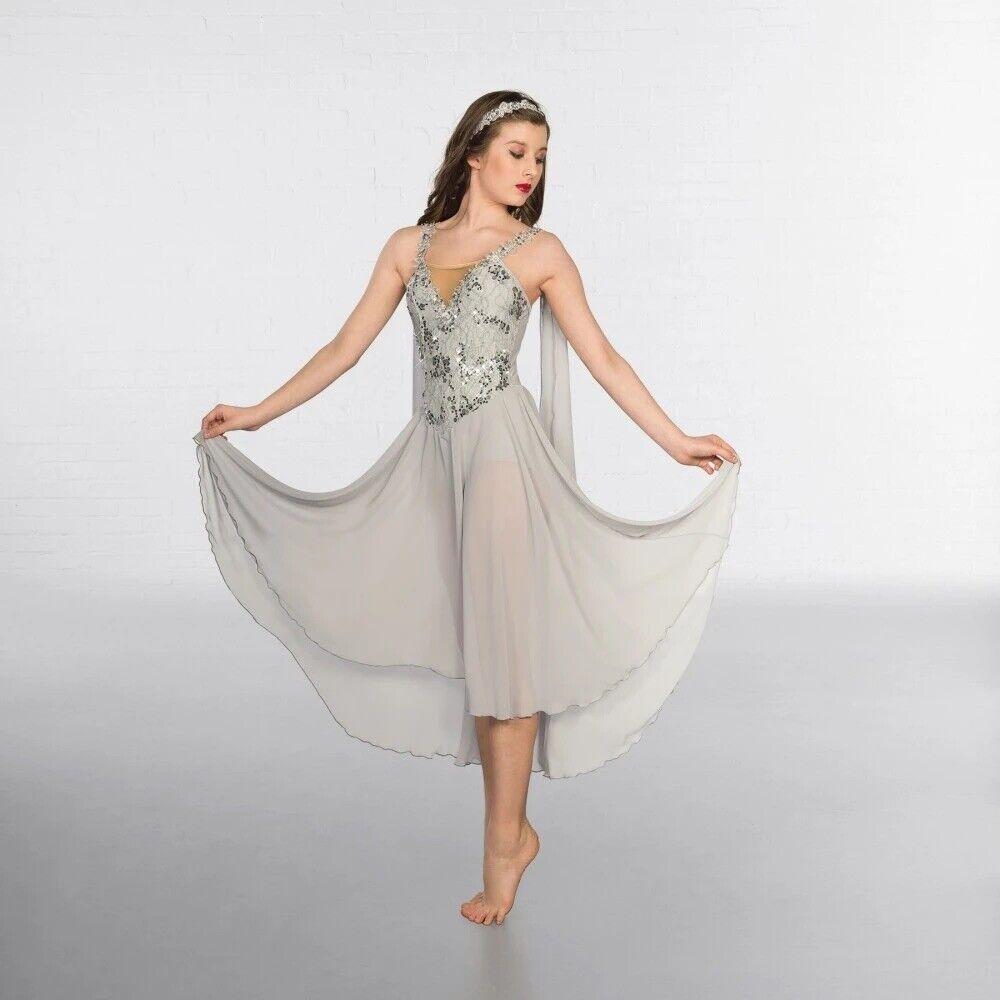 Grey Greek Chiffon Ballet Costume