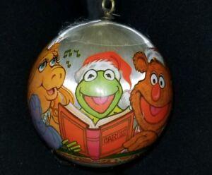 Vtg-1980-HALLMARK-SATIN-BALL-JIM-HENSON-039-S-MUPPETS-KERMIT-CHRISTMAS-TREE-ORNAMENT