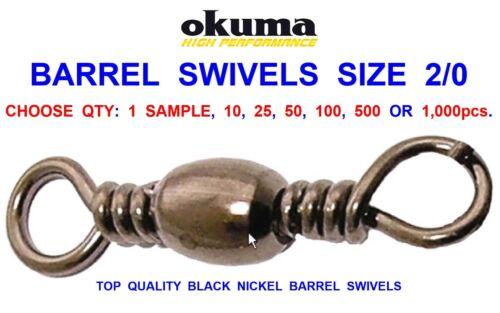 OKUMA BARREL SWIVELS SIZE 2//0 FOR GAME COARSE SEA FISHING LINE BRAID RIG LINK