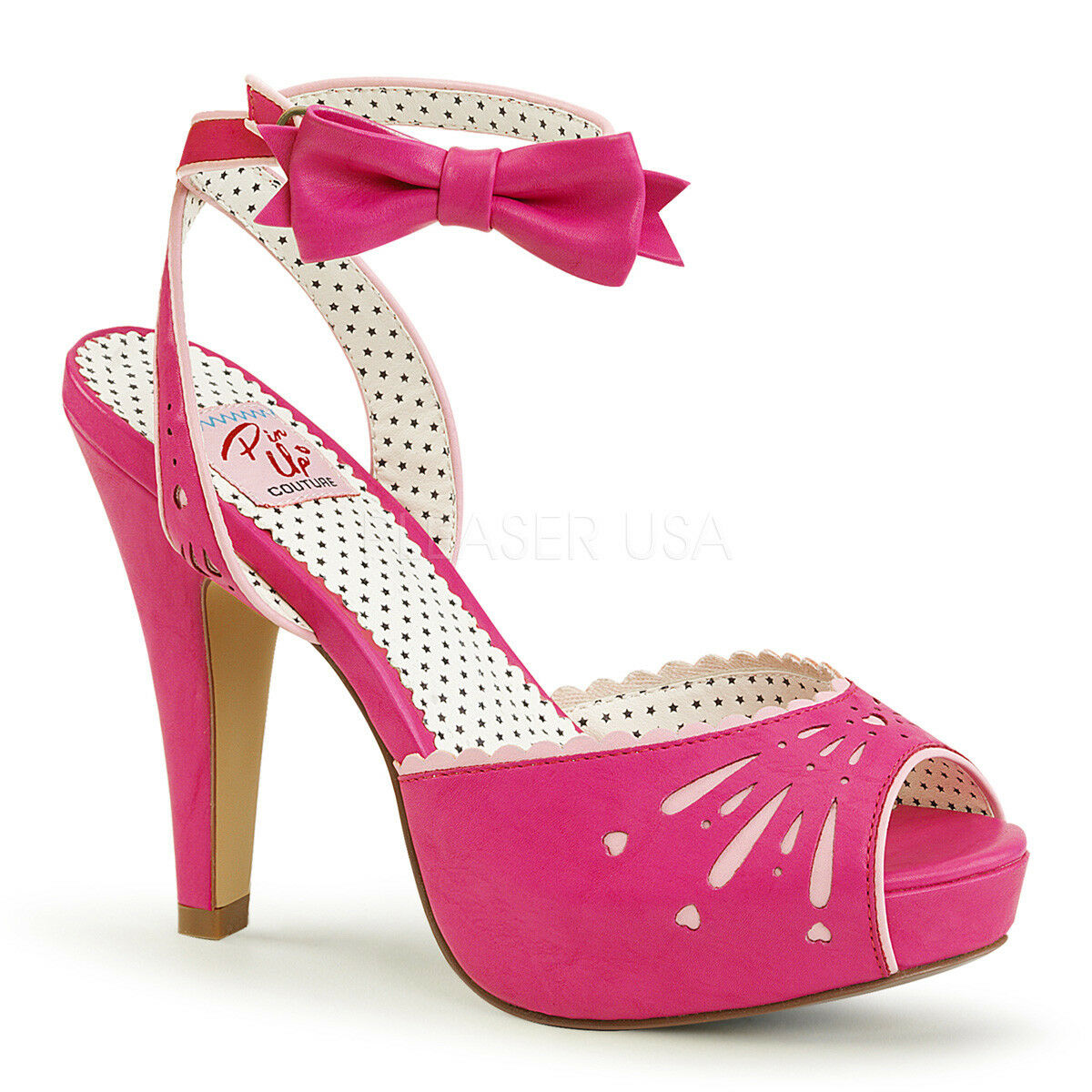 Pin Up Couture BETTIE-01 Damenschuhe Hot Pink Faux Leder Ankle Strap High Heels