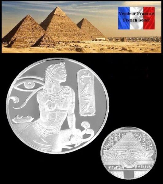 1 Pièce Plaquée Argent Silver Plated Coin - Cléopatre Cleopatra Egypte Pyramides Achat SpéCial