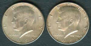 2-Pcs-1964-US-Pres-John-F-KENNEDY-1-2-Half-Dollar-90-Silver-Coin-UNC-1