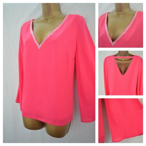 NEW WALLIS TOP TUNIC HOT PINK SILVER PEARL OCCASION PARTY SIZE 8-18