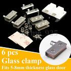 6Pcs Stainless steel Pair Glass Clamp Door Pivot Hinge Set for 5-8mm Glass Door