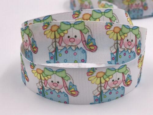 DIY 5 Yard 1/'/' Cartoon rabbit Printed Grosgrain Ribbon Hair Bow Sewing Ribbon