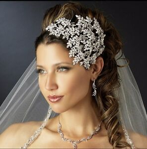Luxury Queen Wedding Bridal Crystal Silver Pageant Crown Headband Tiaras Jewelry
