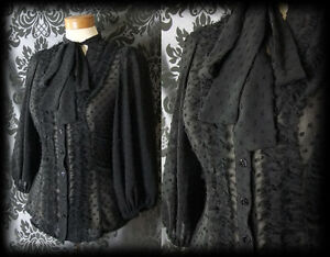 Gothic-Black-Sheer-Polka-Dot-GOVERNESS-Frill-Pussy-Bow-Blouse-4-6-Victorian