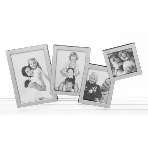 Multi Overlap Silver Finish Photo Frame Holds 4 Pictures  NEW in BOX