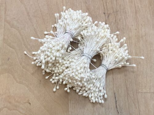 Vintage Millinery Flower Stamen Pips Pearl White Bunch for Hat Supplies NOS Dbl