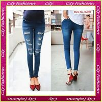 Blue Maternity Skinny Jeans Pregnancy Trousers Clothes Size 6 8 10 12 14 -mj019