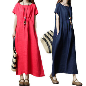68e99d8c12f0 Womens Casual Boho Long Maxi Dress Baggy Short Sleeve Cotton Linen ...
