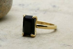 Solid-925-Sterling-Silver-Black-Onyx-Gemstone-Handmade-Womens-Ring-Jewelry