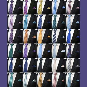 Men-039-s-Paisley-Floral-Tie-amp-Matching-Poche-Carre-Mouchoir-Qualite-Fete-Evenement-Set