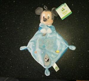 NEUF-Doudou-Plat-Mickey-Mousse-Bleu-Fusee-Disney-baby-nicotoy-etoiles-planetes