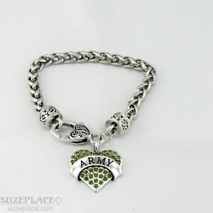 NEW-ARMY-GREEN-CRYSTAL-HEART-CHARM-SILVER-BRACELET-HEART-CLASP-MILITARY