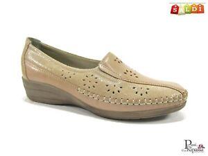 Mocassini scarpe da donna con zeppa bassa estivi in eco pelle leggeri classici