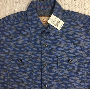 Vintage-ITALIA-Men-s-L-S-Shirt-S-Small-Blue-Gray-Camouflage-NWT-98-New-NICE